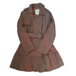 BB DAKOTA Brown Plaid Trench Coat w Ruffle Hem